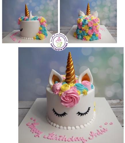 Cake - Unicorn - Fondant Cake - Cream Piping - 1 Tier 034