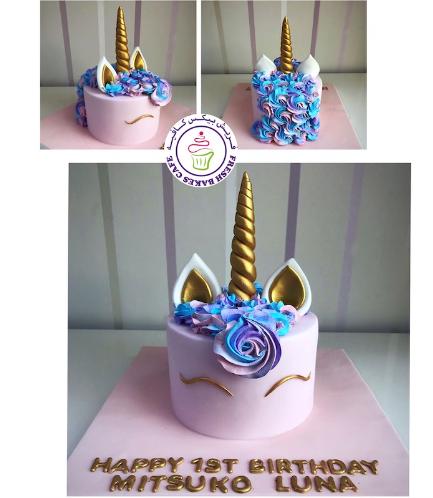Cake - Unicorn - Fondant Cake - Cream Piping - Pink 04