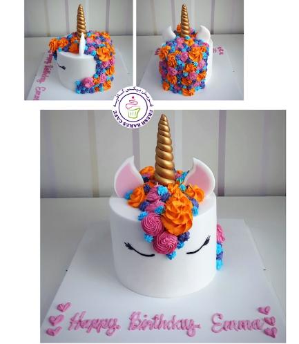 Cake - Unicorn - Fondant Cake - Cream Piping - 1 Tier 031
