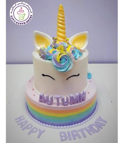 Cake - Unicorn - Fondant Cake - Cream Piping - 2 Tier 003