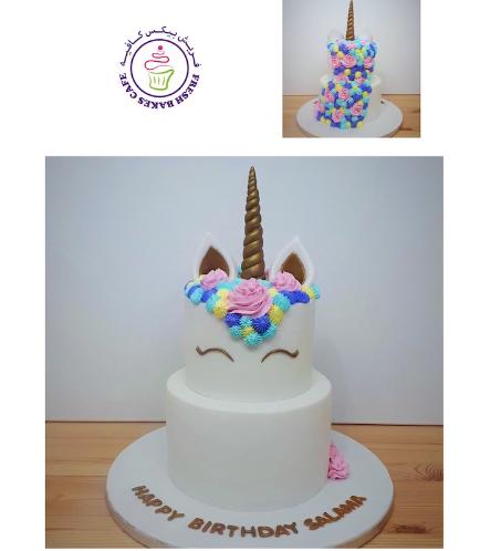 Cake - Unicorn - Fondant Cake - Cream Piping - 2 Tier 004
