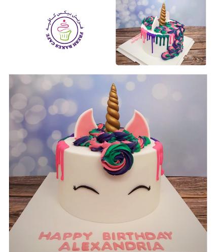 Cake - Unicorn - Fondant Cake - Cream Piping & Drizzle