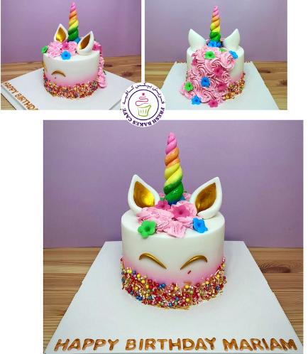 Cake - Unicorn - Fondant Cake - Cream Piping & Flowers - 1 Tier 004