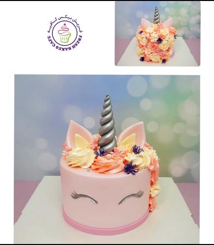 Cake - Unicorn - Fondant Cake - Cream Piping & Flowers - Pink