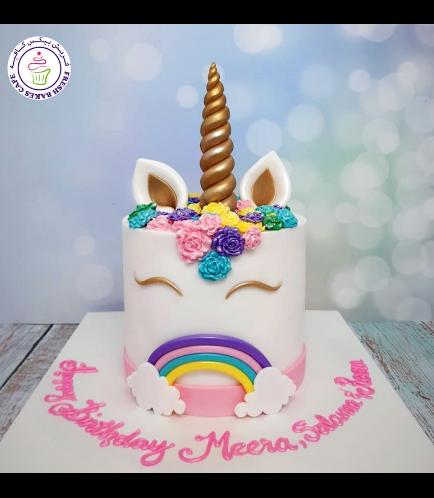 Cake - Unicorn - Fondant Cake - Flowers - 1 Tier 05