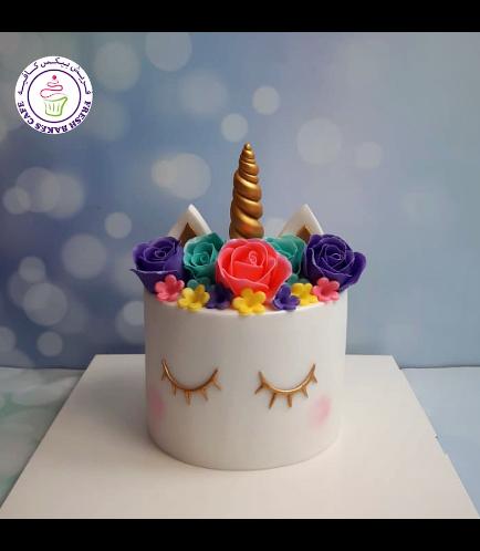 Cake - Unicorn - Fondant Cake - Flowers - 1 Tier 06