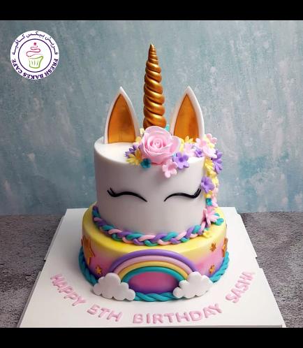 Cake - Unicorn - Fondant Cake - Flowers - 2 Tier 05
