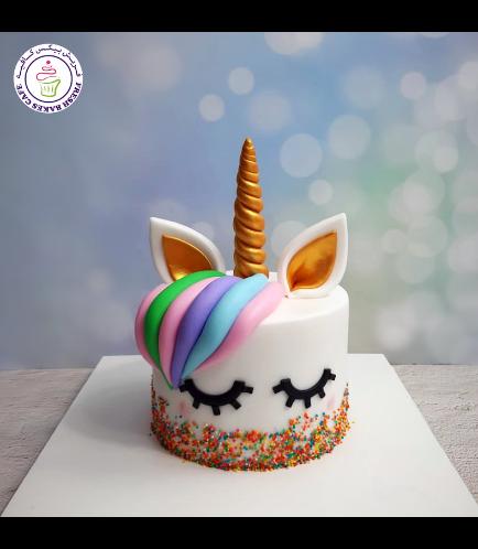 Cake - Unicorn - Fondant Cake - Hair - 1 Tier 005a