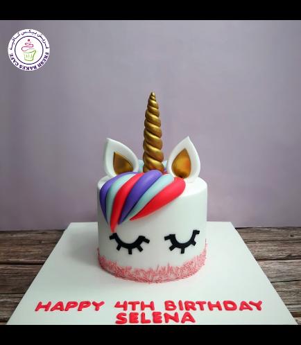 Cake - Unicorn - Fondant Cake - Hair - 1 Tier 005c