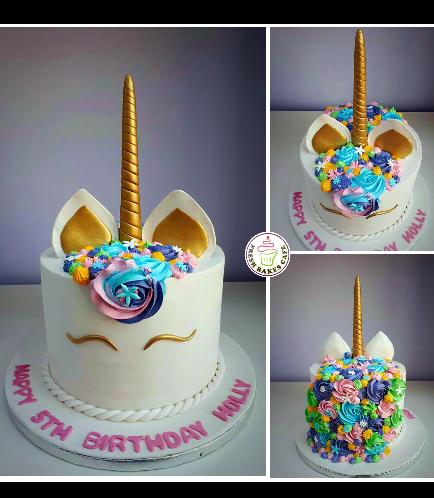 Cake - Unicorn - Fondant Cake - Cream Piping & Flowers - 1 Tier 001