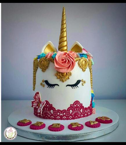 Cake - Unicorn - Fondant Cake - Lace Design 01a