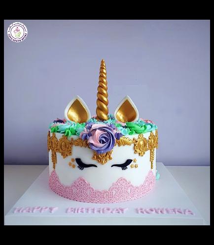Cake - Unicorn - Fondant Cake - Lace Design 02a