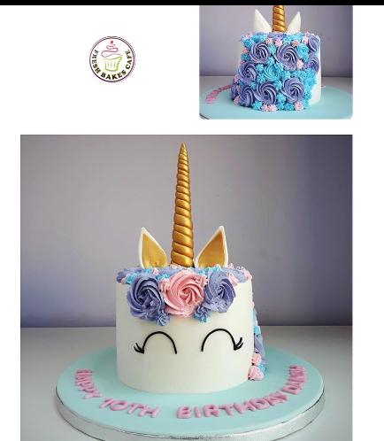 Cake - Unicorn - Fondant Cake - Cream Piping - 1 Tier 004
