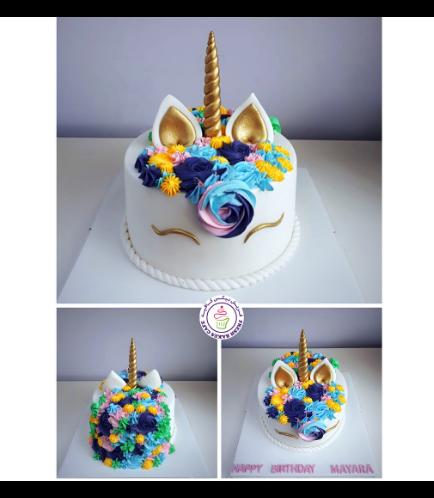 Cake - Unicorn - Fondant Cake - Cream Piping - 1 Tier 021