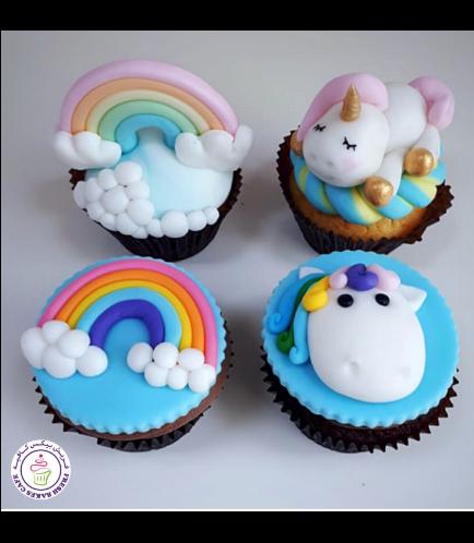 Cupcakes - Fondant - Unicorn & Rainbow 01