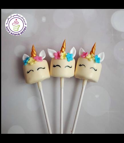 Unicorn Themed Marshmallow Pops - Flowers 03 - 1 Piece