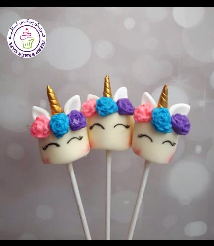 Unicorn Themed Marshmallow Pops - Flowers 05 - 1 Piece