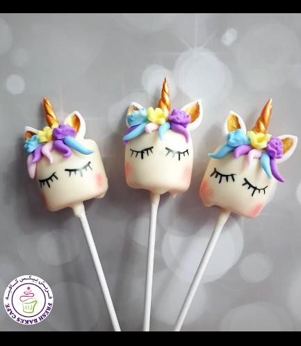 Unicorn Themed Marshmallow Pops - Hair & Flowers