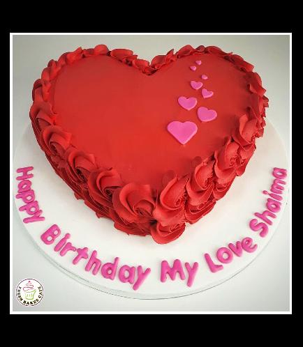 Cake - Heart Cake - Cream - Cream Rose - Red
