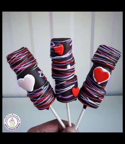 Valentine's Themed Marshmallow Pops - Hearts