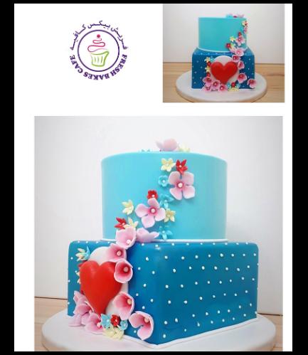 Cake - Heart - 2D Cake Topper & Flowers
