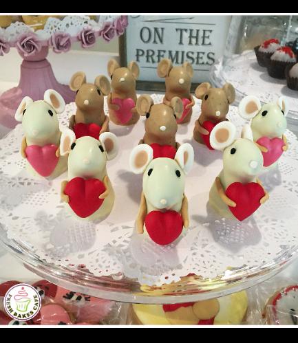 Mice Themed Cake Pops w/o Sticks - Valentine's