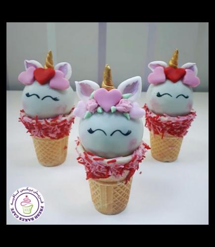 Valentine's Themed Cone Cake Pops - Unicorns