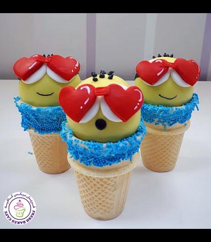 Valentine's Themed Cone Cake Pops - Minions