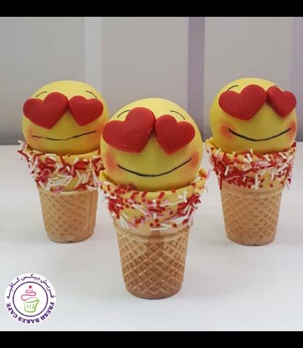 Valentine's Themed Cone Cake Pops - Emojis - Boys