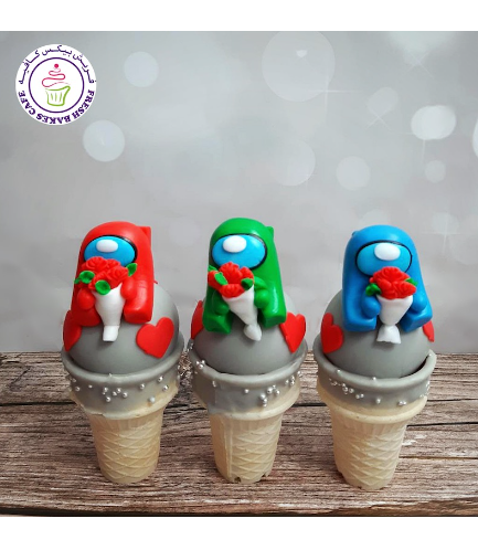 Among Us Themed Cone Cake Pops - Valentine's