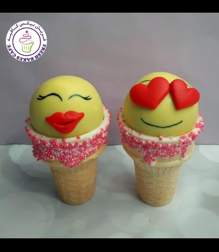 Valentine's Themed Cone Cake Pops - Emojis