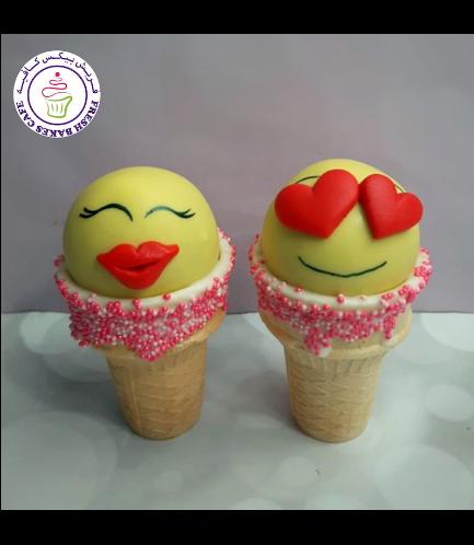 Emoji Themed Cone Cake Pops - Valentine's