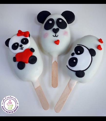 Valentine's Themed Popsicakes - Pandas