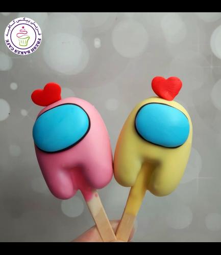 Among Us Themed Popsicakes - Valentine's 02