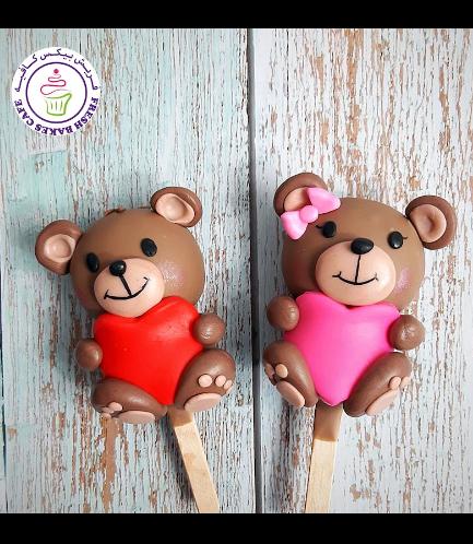 Valentine's Themed Popsicakes - Bears - Boy & Girl