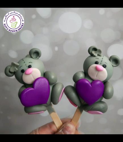 Valentine's Themed Popsicakes - Bears - Grey