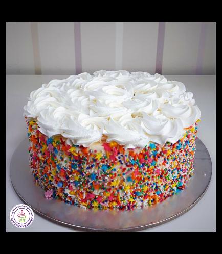 Funfetti Cake with Cream Rose 01