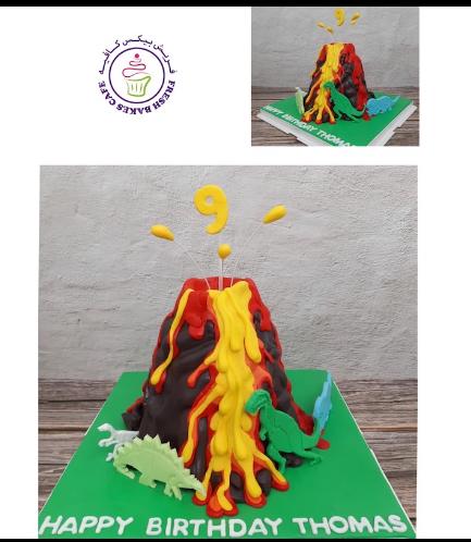 Volcano Themed Cake - 3D Cake & 2D Dinosaur Cake Toppers