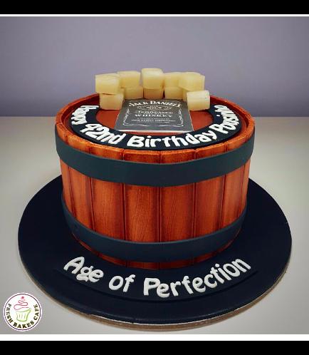 Whiskey Themed Cake - 3D Barrel Cake