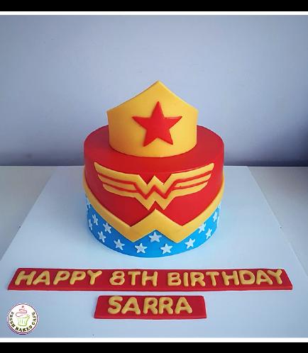Wonder Woman Themed Cake - Crown - 1 Tier 01