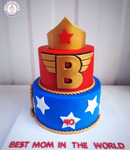 Wonder Woman Themed Cake - Crown - 2 Tier 01a
