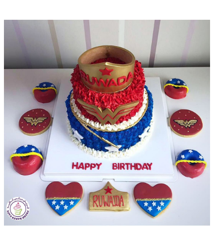 Wonder Woman Themed Cake - Crown - 2 Tier 02b