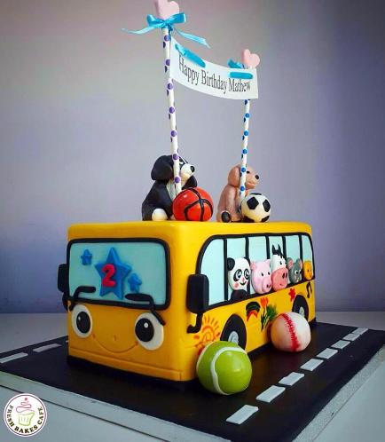 Bus Themed Cake - School Bus - 3D Cake 03a