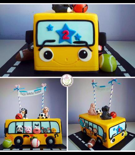 Bus Themed Cake - Yellow Bus 03b
