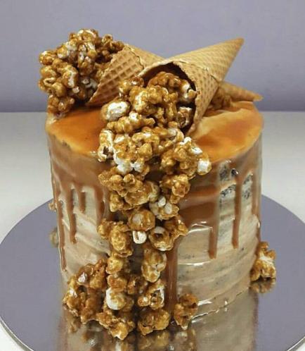Chocolate Caramel Popcorn Cake 2