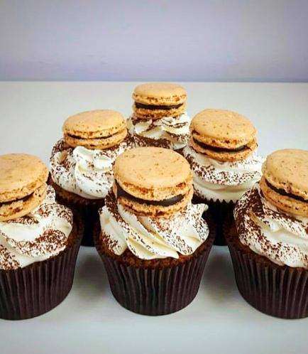 Tiramisu Cupcake with Coffee Macaron